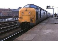 Deltic 55013 <I>The Black Watch</I> arriving at York on 14 April 1979 with an ECML service.<br><br>[Peter Todd&nbsp;14/04/1979]
