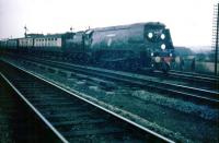 Battle of Britain Pacific no 34051 'Winston Churchill' entering Oxford with his funeral train on 30 January 1965.<br><br>[John Thorn&nbsp;30/01/1965]