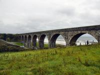 The impressive viaduct at the west end of Cullen looking towards Portknockie. The eight arch viaduct crosses the main A98, a slip road to the beach and the Burn of Deskford.<br><br>[John Gray&nbsp;22/10/2009]