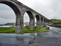 The eight arch viaduct at Cullen looking east, in the rain.<br><br>[John Gray&nbsp;22/10/2009]