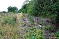 Looking west to the level crossing by the remains of Claydon station on the Buckinghamshire Railway. Many of the rails going east from Shepherd's Furze have been lifted.<br><br>[Ewan Crawford&nbsp;06/09/2009]