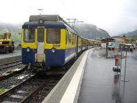 A service from Interlaken Ost arrives at Grindelwald on a wet 12th October 2009. The line to Kleine Scheidegg is served by the platform on the left but was closed due to engineering work as indicated by the plant on the platform. <br><br>[Michael Gibb&nbsp;12/10/2009]