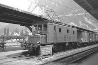 Locomotive no 305 stands at Interlaken West station with a freight train in July 1962.<br><br>[Colin Miller&nbsp;/07/1962]