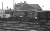 Shunting at Guild Street yard, Aberdeen, on 20 February 1977, 08515 has a rest between tasks.