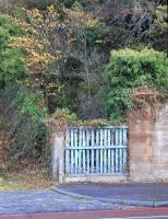The foot of the stairway that led to the Leith-bound platform of Murrayfield station on Roseburn Terrace, Edinburgh, photographed on 10 October 2009. Note the fading ScR blue paint.<br><br>[David Panton&nbsp;10/10/2009]