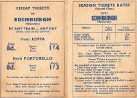 The back of a pocket timetable valid from 18 Jun 1962.�1s 4d return,<br> valid all day, for the three-and-a-half miles from Waverley to Joppa.�1s 4d equals 7p.� There's no meaningful way of arriving at today's equivalent of past prices, whatever you are led to believe.� Cheap though it seems most people still preferred the bus and the station closed in 1964 as did Portobello.� Note the income-dependent season ticket rates for 16 to 18 year olds.�It would be unthinkable today, and hard to police then; what if you suddenly got a better-paid job, or left education? <br> <br><br>[David Panton&nbsp;18/06/1962]