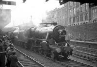 Black 5 no 44997 together with A4 no 60009 <I>Union of South Africa</I> coming off BR <I>Grand Scottish Tour No 1</I> at Aberdeen on 25 March 1967, having brought in the 18 coach train from Perth [see image 22971].  <br> <br><br>[Robin Barbour Collection (Courtesy Bruce McCartney)&nbsp;25/03/1967]
