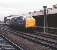 Deltic 55003 <I>Meld</I> at Doncaster on 29 December 1979.<br><br>[Peter Todd&nbsp;29/12/1979]
