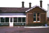 Part of the closed station of Hartfield, Sussex, which saw its last passengers in 1967, seen here in use as a children's nursery in 1974. <br> <br><br>[Ian Dinmore&nbsp;//1974]