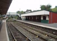 The Down side waiting shelter at Newtown is a large affair, as seen in this view looking towards Welshpool. All movements on this line operate on the Radio Electronic Token Block system. <br><br>[Mark Bartlett&nbsp;17/09/2009]