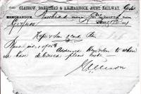 Ancient Glasgow Barrhead and Kilmarnock Joint Railway note from Barrhead to Lochwinnoch dated August 17 1881.<br><br>[Colin Miller&nbsp;09/11/2002]