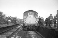 The locomotive and crew of the final westbound Speyside train attracting a lot of attention at Boat of Garten on 2nd November 1968. <br><br>[David Spaven&nbsp;02/11/1968]