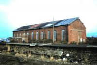 The former locomotive shed at Fairlie Pier, photographed in May 1984<br> <br><br>[Colin Miller&nbsp;/05/1984]