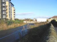 The site of Easter Road Park Halt, looking towards Leith on 31 Oct <br> 2009. This short-lived station on the Leith Central branch only handled specials for Hibernian FCs ground. Although the track was double it only had a platform on the Leith-bound side. This might explain why the halt saw arriving trains only: fans had to make their own way back! Well, that's one way of tackling fare-dodging.<br> <br><br>[David Panton&nbsp;31/10/2009]