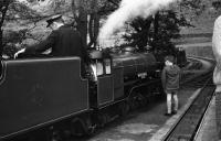 Having run around it's train, <I>River Mite</I> waits to return to Dalegarth on 30 May 1972.<br><br>[John McIntyre&nbsp;30/05/1972]