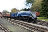 Sir Nigel brings a southbound train into Goathland on 18 October 2009. The leading carriages are LNER teak stock which look the part, especially with an A4 on the front even when it is in post Nationalisation Blue.<br><br>[John McIntyre&nbsp;18/10/2009]