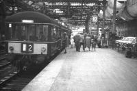 An arrival from Corstorphine at Waverley platform 10 in 1967 during the last few months of operations. The last passenger service ran on the branch on Saturday 30 December 1967. [See image 23470]<br><br>[David Spaven&nbsp;//1967]