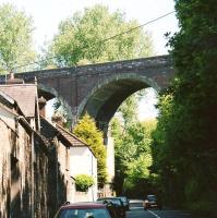 The other Shepton Mallet viaduct [see image 25805] is over Bath Road. Unfortunately it fell down (partly) in 1946. The large concrete block seen in this view was installed approx' 2005.<br><br>[Ken Strachan&nbsp;24/05/2009]