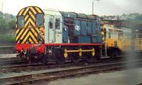 An unusual visitor to this stabling point in 1988 was 97.806 - an 09 in all but number - with the Severn Tunnel Rescue Train, which was normally kept in sidings at Sudbrook. Quite how the well wagon on the right would accommodate all of the passengers from an HST was never put to the test - just as well really...<br><br>[Ken Strachan&nbsp;//1988]