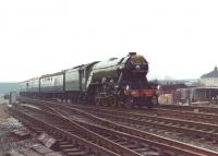 4472 <i>Flying Scotsman</I> eastbound approaching Skipton station with its Diamond Jubilee special in April 1983.<br><br>[David Pesterfield&nbsp;/04/1983]