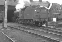 Gresley V2 2-6-2 no 60955 taking on water at Ferryhill shed in July 1963.<br><br>[Colin Miller&nbsp;/07/1963]