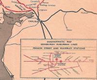 The bottom right-hand corner of the BR Scottish Region network map for 1960-61 showing the diagram of lines in Edinburgh - when such a thing was still needed.� I am intrigued by the placing of the regional boundary on the map - correctly placed on the border at Gretna Junction, but why is Longtown, Cumberland, apparently part of Scottish Region?� It had maroon London Midland Region signage.� Maybe it was a cartographer's error? <br> <br><br>[David Panton&nbsp;//1960]