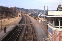 Platform scene at Grantown-on-Spey West - with its now sadly gone <I>art deco</I> style signal box - photographed in April 1968, three years after closure (complete with a young DS on the platform!). A recent �5m appeal has been launched to extend the Strathspey Railway from north of Broomhill back to this site. [See news item]<br> <br><br>[Frank Spaven Collection (Courtesy David Spaven)&nbsp;/04/1968]