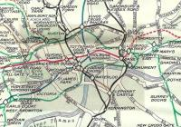 Although Harry Beck's famous underground map (inspired by wiring <br> diagrams) was available from 1933 this many-folded pocket map of July 1938 does not carry it, but rather 3 versions of the same more <br> conventional map with the colour-coded lines superimposed.� This is <br> detail of the Central Area from the main map, and not all stations are shown.� Oddly, although the Circle Line opened in 1884 it wasn't given a separate colour (yellow) until 1949. <br> <br> <br><br>[David Panton&nbsp;/07/1938]