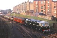 Birmingham Sulzer Type 2 D5308 (with EE Type 4 D368 at the rear) with the empty stock of the Royal Train near Leith North on 16 October 1962 on the occasion of the State Visit by King Olav of Norway. A few hours later, with D368 leading, the Royal Train carried the King's party (which had earlier arrived by ship at Leith Docks) to Princes Street station to be met by the Queen and Duke of Edinburgh. The view is from Lindsay Road Bridge looking back towards Newhaven .....for the same view 47 years later [see image 22977].  <br><br>[Frank Spaven Collection (Courtesy David Spaven)&nbsp;16/10/1962]