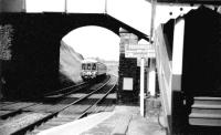 A DMU leaves Caerleon on an 'Eastern Valleys' service to Brynmawr. The  station closed in the early 1960's when the valley service was withdrawn  but the line is still open carrying Cardiff to Manchester and other  services<br><br>[John Thorn&nbsp;//1959]
