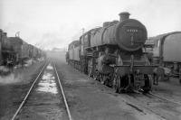 Scene in the shed yard at Kingmoor around 1966. Ivatt 4MT 2-6-0 no 43139 is nearest the camera alongside Britannia Pacific no 70050 <I>Firth of Clyde</I> standing on the right. <br><br>[Robin Barbour Collection (Courtesy Bruce McCartney)&nbsp;//1966]