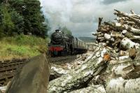 Black 5 no 5025 departs from Boat of Garten past the wood pile with a service for Aviemore on the Strathspey Railway in the summer of 1989. <br><br>[John McIntyre&nbsp;//1989]