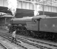 4472 <I>Flying Scotsman</I> pictured following arrival in Aberdeen with the Queen's College RTS railtour of 16 May 1964 from Edinburgh.<br><br>[Robin Barbour Collection (Courtesy Bruce McCartney)&nbsp;16/05/1964]