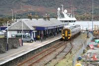 The 1435 service to Inverness bides its time at Kyle of Lochalsh on 29 September 2009.<br><br>[John Furnevel&nbsp;29/09/2009]