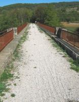 Track over old railway bridge at Camon on the former Mirepoix - Lavalenet branch line.<br><br>[Alistair MacKenzie&nbsp;05/10/2009]