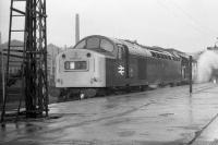 Class 40 no 366 departs south from a wet and cold Aberdeen in November 1972. Thankfully for the passengers the steam heat appears to be working.<br><br>[John McIntyre&nbsp;/11/1972]
