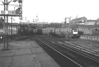 The 17.15 Aberdeen - Glasgow train arrives at Buchanan Street station in August 1966 behind NBL Type 2 locomotive no D6106.<br><br>[Colin Miller&nbsp;/08/1966]