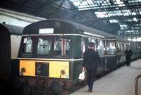 Empty DMU standing at Waverley on 30 December 1967, having arrived with the last scheduled passenger service off the Corstorphine branch. [See image 23500]<br><br>[Bruce McCartney&nbsp;30/12/1967]