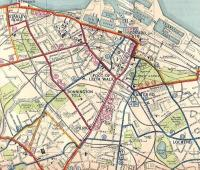 Detail from the City of Edinburgh Transport Map, 1937, showing <br> Leith.�Tram routes are shown in red and it's clear there must have been an almost endless parade of 'cars' on The Walk, though perhaps like buses today they all seemed to vanish when you wanted to catch one. Most tram services were replaced by buses carrying the same number and you can still catch a 7, 10, 11, 12, 16 or 25 into town today. <br> <br><br>[David Panton&nbsp;/05/1937]