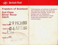 The Easter school holiday of 1980, and paid for out of my Saturday job I've freedom of the Scottish rails for �3.40 a day.� Whether I worked on that Saturday I can't remember.<br> <br><br>[David Panton&nbsp;29/03/1980]