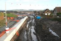 View east towards Bathgate on 27 November from the recently reopened B8084 Station Road bridge at Armadale. The works here seem to stretch almost as far as the eye can see.<br><br>[John Furnevel 27/11/2009]