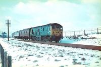 A type 2 heads north through the snow at Whitrope in December 1968.<br> <br><br>[Bruce McCartney&nbsp;/12/1968]