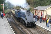 60007 <I>Sir Nigel Gresley</I> arrives at Goathland on 14 October 2009 with a train from Whitby.<br><br>[John Furnevel&nbsp;14/10/2009]