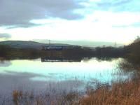 The causeway at Rishton sees a Northern Pacer crossing on its way to Colne with a late afternoon service. This structure divides a local reservoir in two. On the north side of the railway is a sailing club but on this side only the local wildlife.   <br><br>[Mark Bartlett&nbsp;04/12/2009]