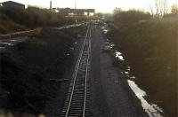 Looking back towards Kilmarnock Station from the Western Road bridge. Track panels being 'recycled' here appear to have been lifted from a curve somewhere!<br><br>[Robert Blane&nbsp;08/12/2009]