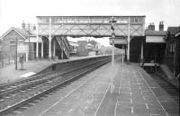 View north through St Boswells station in the mid 1960s. On the right is the bay platform used by trains on the Kelso and Berwick line and immediately to the right of that stands the 2-road locomotive shed [see image 7552].<br><br>[Robin Barbour Collection (Courtesy Bruce McCartney)&nbsp;//]
