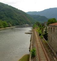 View south from the Ponte della Maddalena at Borgo a Mozzano, Tuscany, showing the Lucca - Aulla line running along the west bank of the River Serchio.<br><br>[Iain Steel&nbsp;07/08/2007]