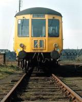 Gloucester RC&W DMU in a siding at Leith Central Diesel Depot in 1971.� Your correspondent in the driving seat (and yes, I had a permit for the visit!)� The Leith North destination was history even then....<br> <br><br>[Bill Roberton Collection&nbsp;//1971]