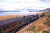 Shortly after leaving Oban on 1 September 1960, two Black 5s are pictured on the way down from Glencruitten heading for Connel with the 12.05 service to Glasgow. [See image 27076]<br><br>[Frank Spaven Collection (Courtesy David Spaven)&nbsp;01/09/1960]