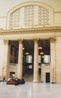 A rather grand staircase at Union station. Notice the silver-haired detective with the naked gun and the misspelt newspaper headline - or maybe I'm dreaming...<br><br>[Ken Strachan&nbsp;14/09/2001]